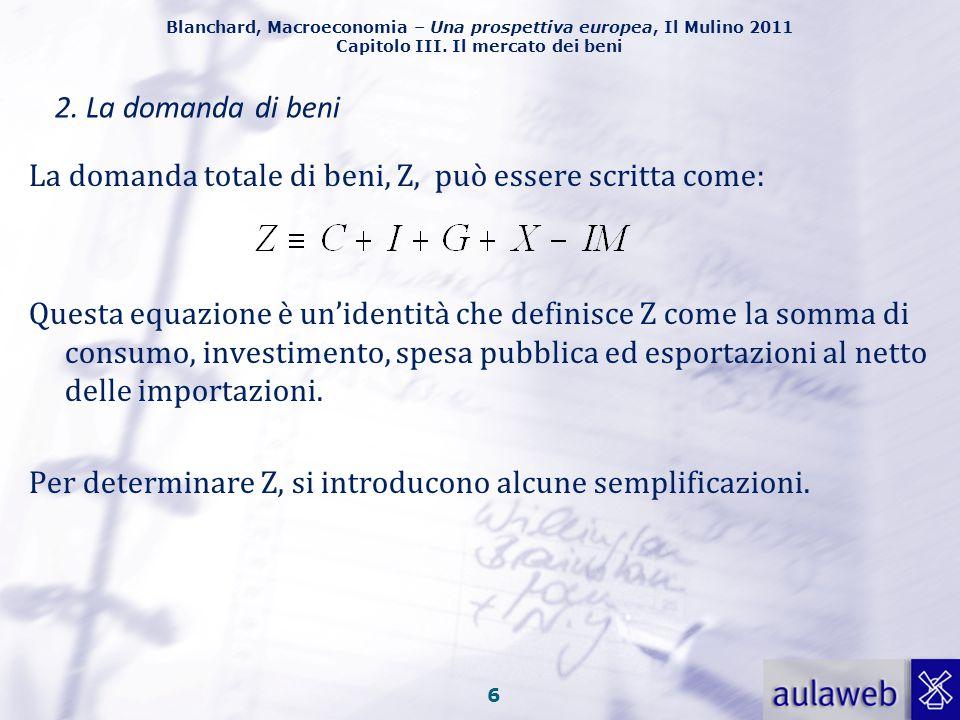 2. La domanda di beni La domanda totale di beni, Z, può essere scritta come: