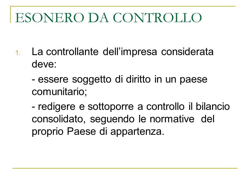 ESONERO DA CONTROLLO La controllante dell'impresa considerata deve: