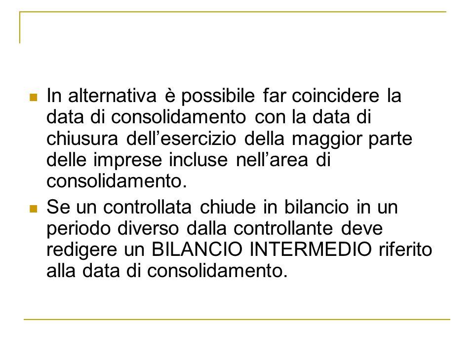In alternativa è possibile far coincidere la data di consolidamento con la data di chiusura dell'esercizio della maggior parte delle imprese incluse nell'area di consolidamento.