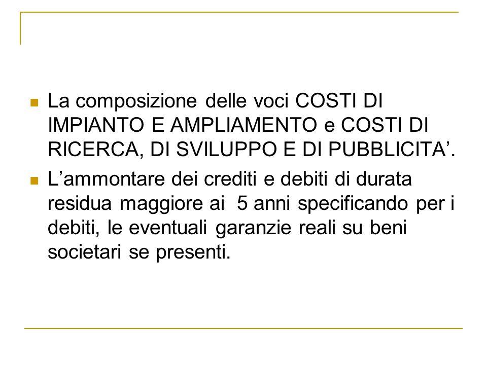 La composizione delle voci COSTI DI IMPIANTO E AMPLIAMENTO e COSTI DI RICERCA, DI SVILUPPO E DI PUBBLICITA'.