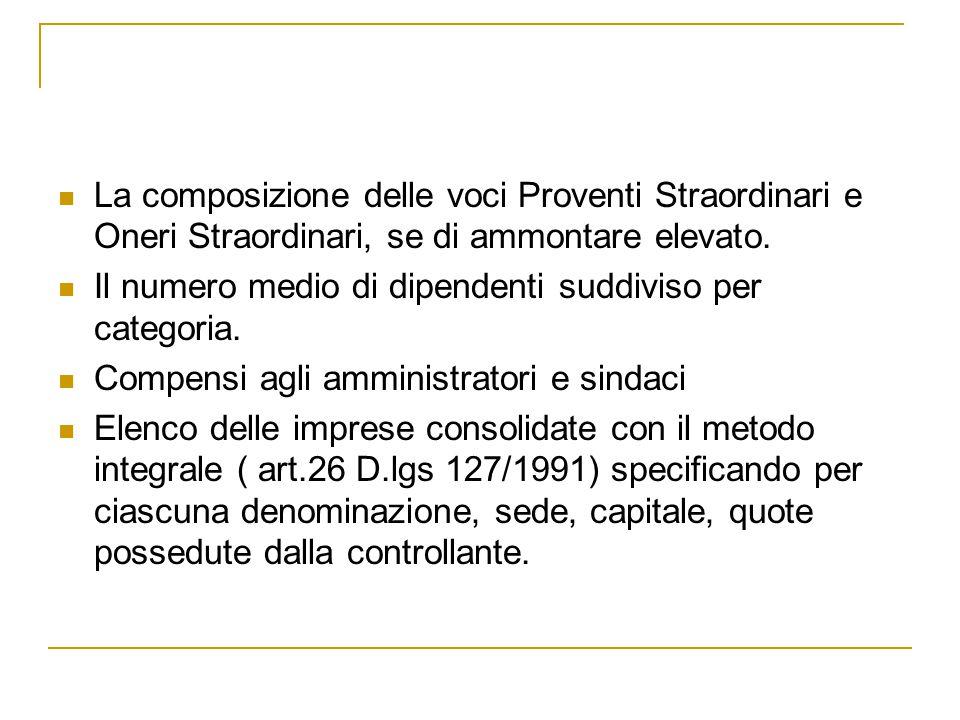 La composizione delle voci Proventi Straordinari e Oneri Straordinari, se di ammontare elevato.