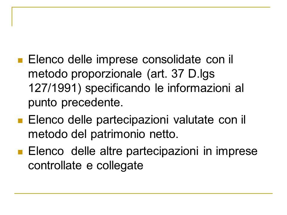 Elenco delle imprese consolidate con il metodo proporzionale (art. 37 D.lgs 127/1991) specificando le informazioni al punto precedente.