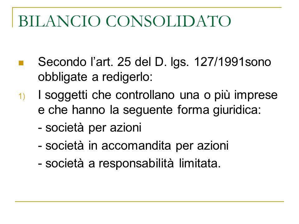BILANCIO CONSOLIDATO Secondo l'art. 25 del D. lgs. 127/1991sono obbligate a redigerlo: