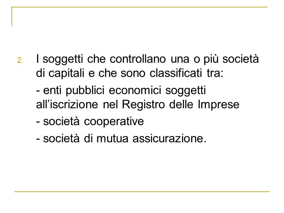 I soggetti che controllano una o più società di capitali e che sono classificati tra: