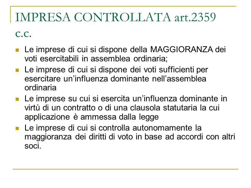 IMPRESA CONTROLLATA art.2359 c.c.