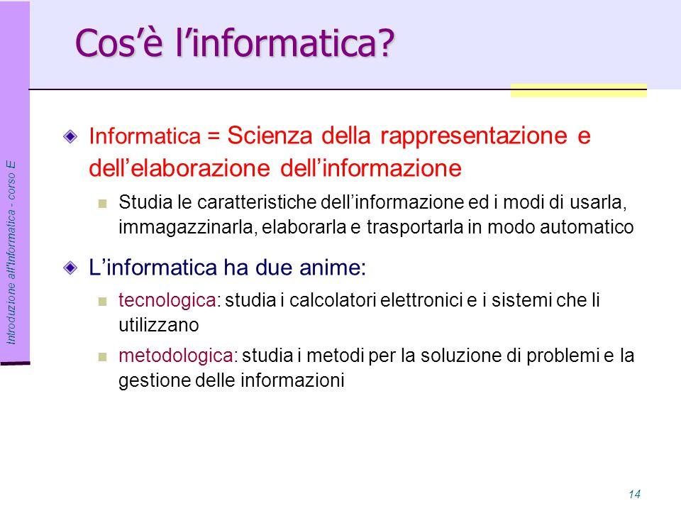 Cos'è l'informatica Informatica = Scienza della rappresentazione e dell'elaborazione dell'informazione.