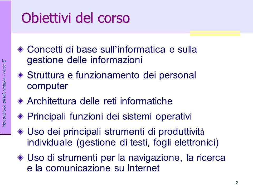 Obiettivi del corso Concetti di base sull'informatica e sulla gestione delle informazioni. Struttura e funzionamento dei personal computer.