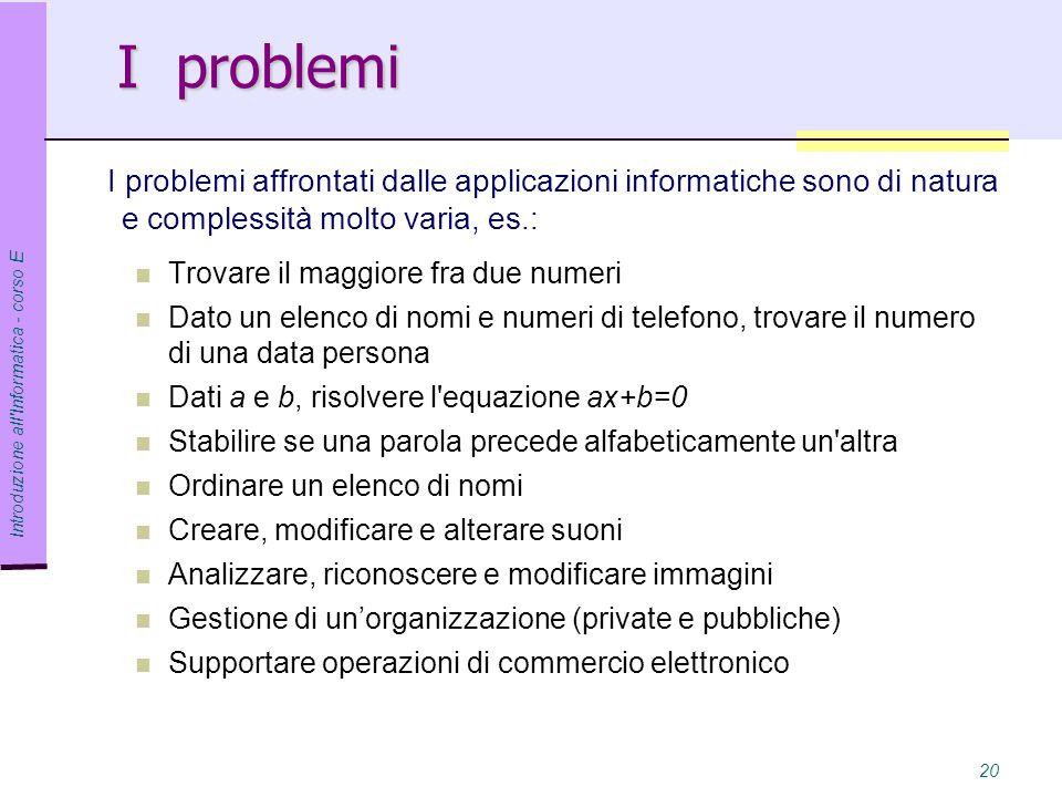 I problemi I problemi affrontati dalle applicazioni informatiche sono di natura e complessità molto varia, es.: