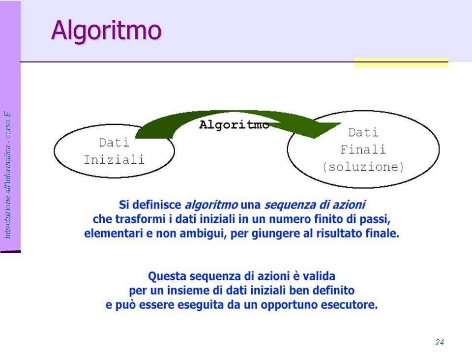 Algoritmo Introduzione all Informatica - corso E