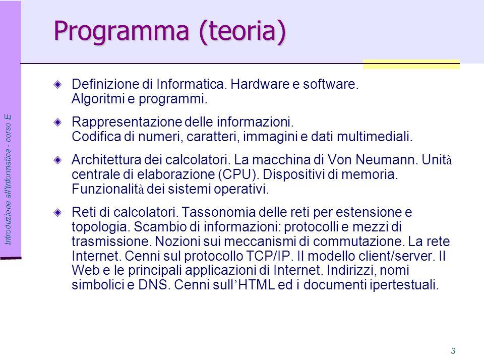 Programma (teoria) Definizione di Informatica. Hardware e software. Algoritmi e programmi.