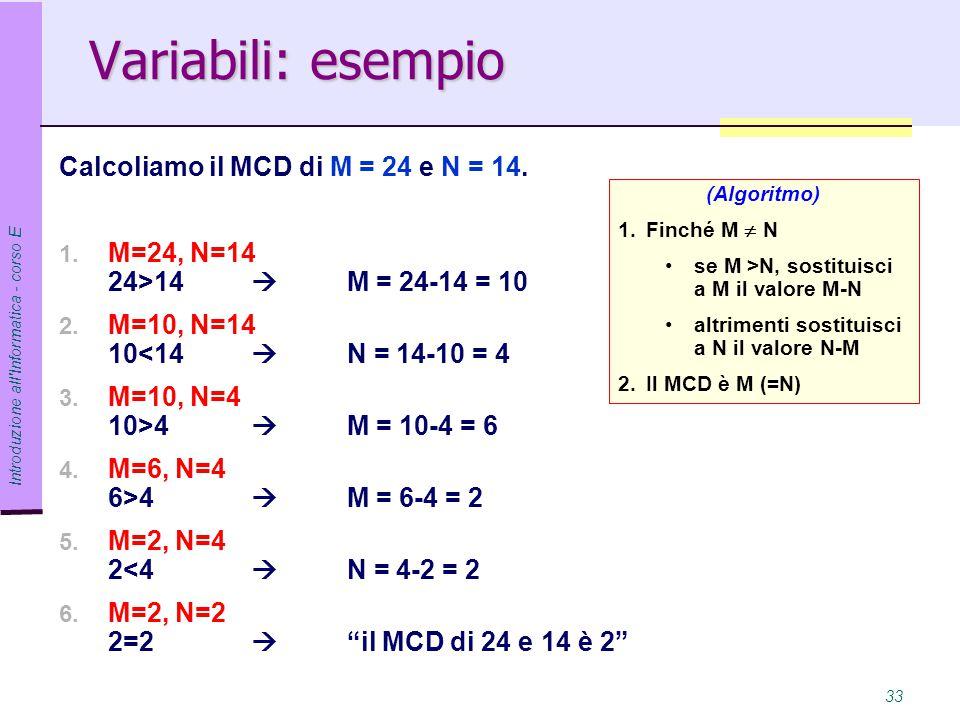 Variabili: esempio Calcoliamo il MCD di M = 24 e N = 14.