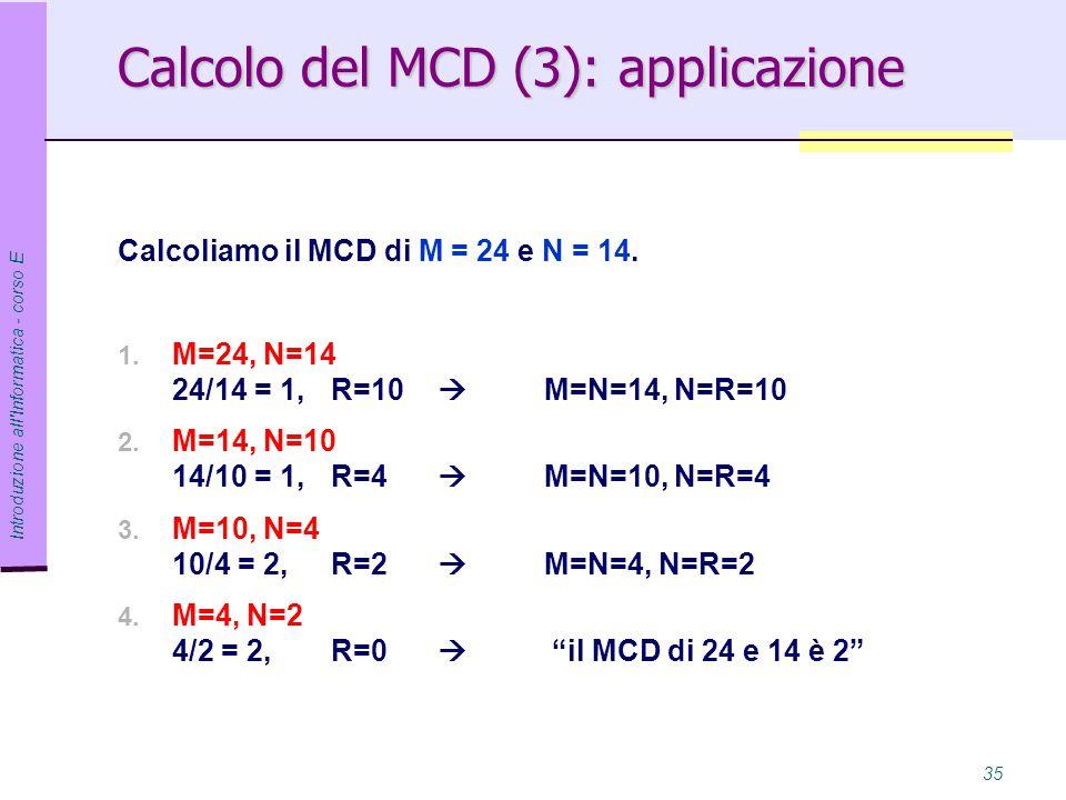 Calcolo del MCD (3): applicazione