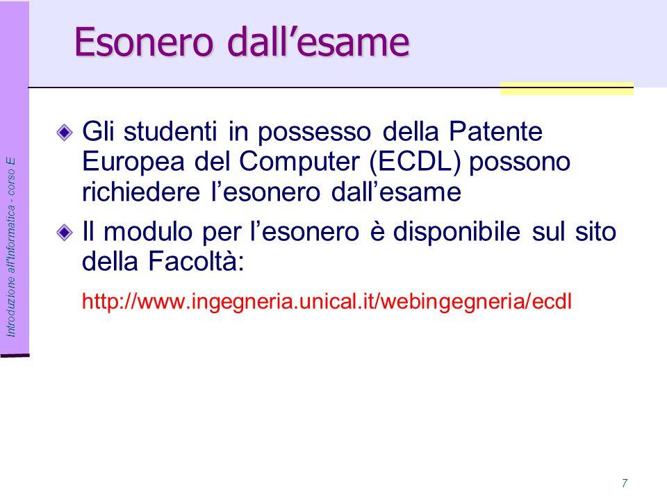 Esonero dall'esame Gli studenti in possesso della Patente Europea del Computer (ECDL) possono richiedere l'esonero dall'esame.
