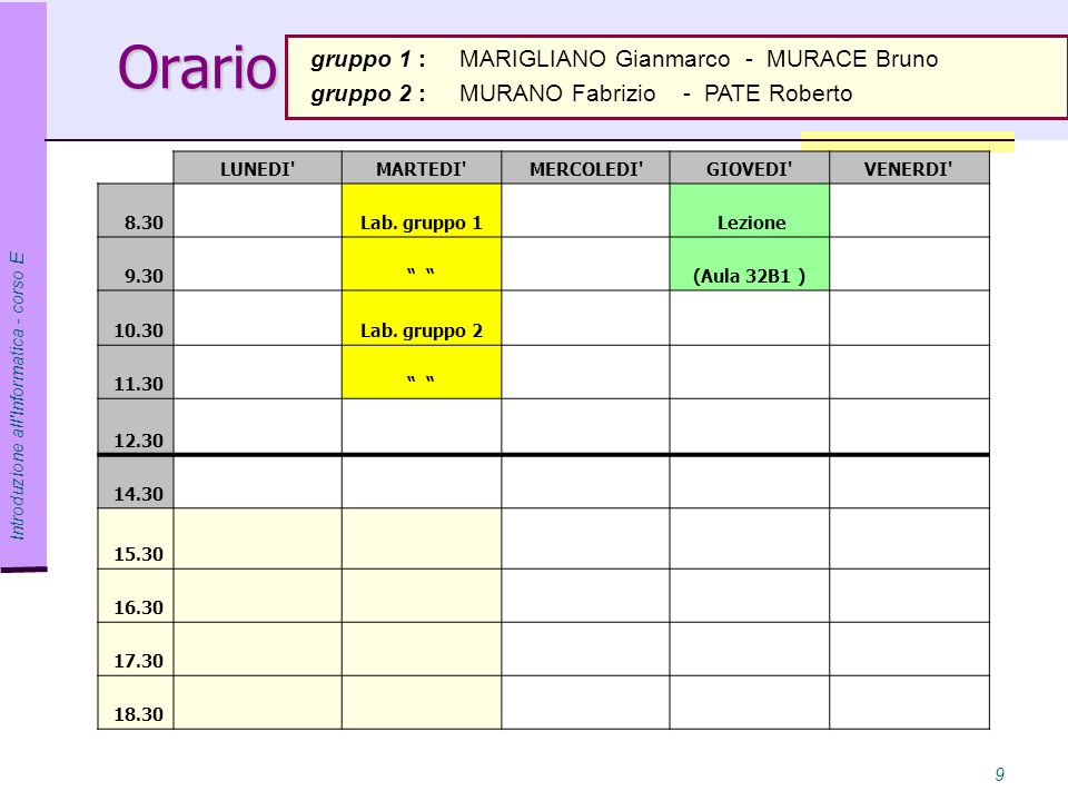 Orario gruppo 1 : MARIGLIANO Gianmarco - MURACE Bruno