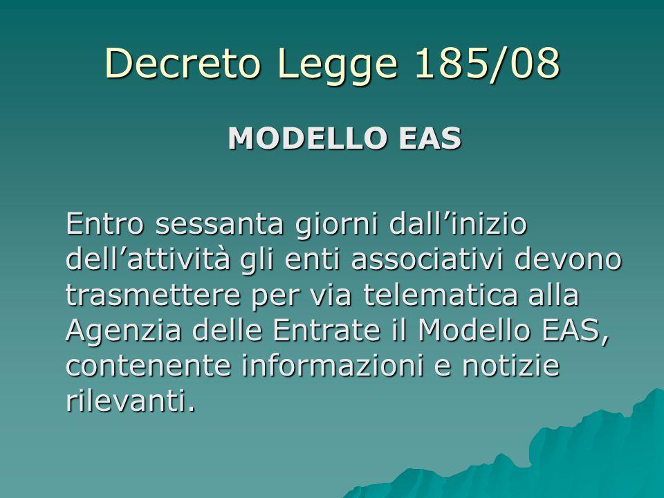 Decreto Legge 185/08 MODELLO EAS
