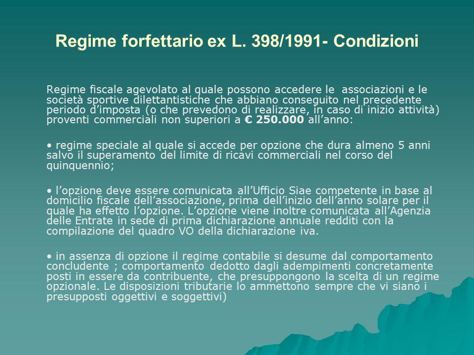 Regime forfettario ex L. 398/1991- Condizioni