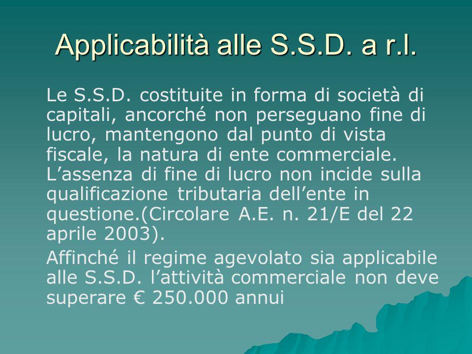 Applicabilità alle S.S.D. a r.l.