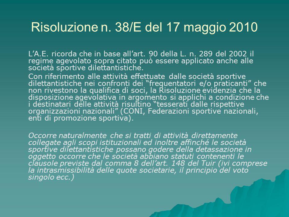 Risoluzione n. 38/E del 17 maggio 2010