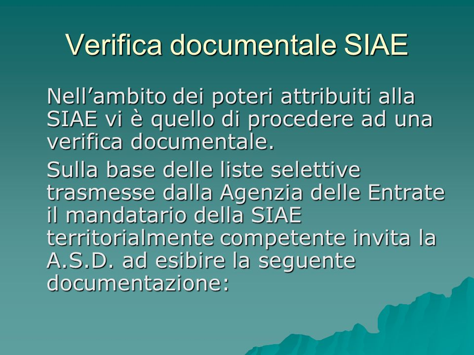 Verifica documentale SIAE