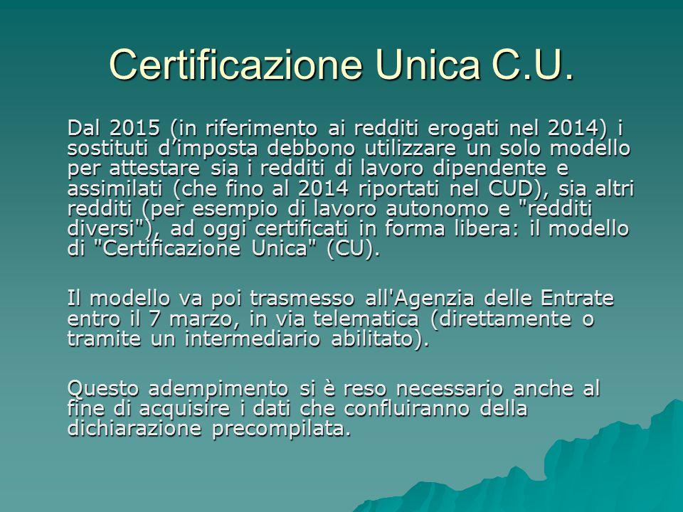 Certificazione Unica C.U.