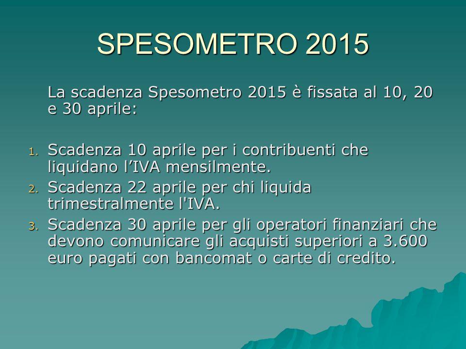 SPESOMETRO 2015 La scadenza Spesometro 2015 è fissata al 10, 20 e 30 aprile: Scadenza 10 aprile per i contribuenti che liquidano l'IVA mensilmente.