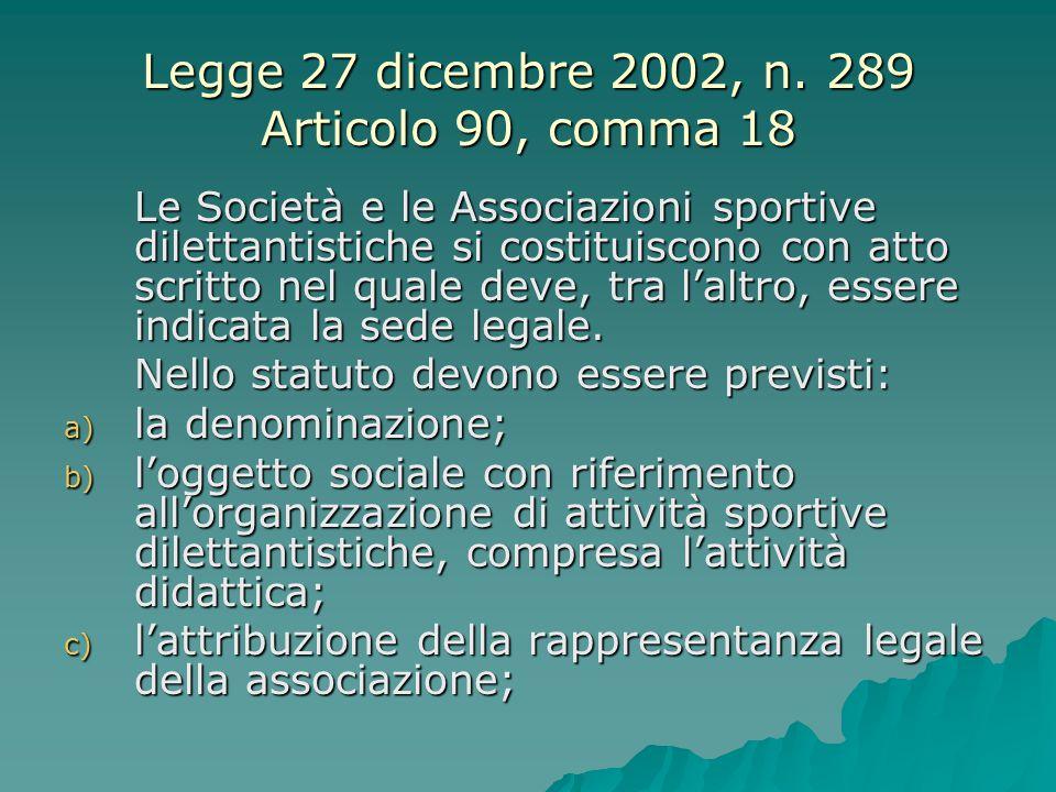 Legge 27 dicembre 2002, n. 289 Articolo 90, comma 18