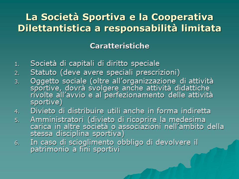 La Società Sportiva e la Cooperativa Dilettantistica a responsabilità limitata