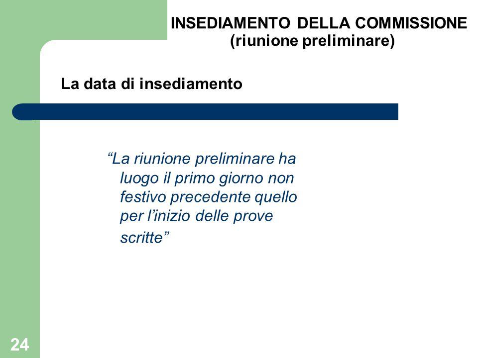 INSEDIAMENTO DELLA COMMISSIONE (riunione preliminare)