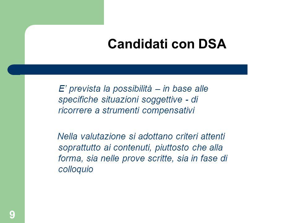 Candidati con DSA E' prevista la possibilità – in base alle specifiche situazioni soggettive - di ricorrere a strumenti compensativi.