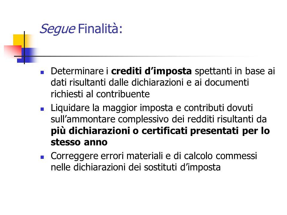 Segue Finalità: Determinare i crediti d'imposta spettanti in base ai dati risultanti dalle dichiarazioni e ai documenti richiesti al contribuente.