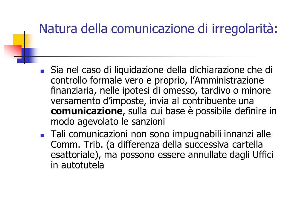 Natura della comunicazione di irregolarità: