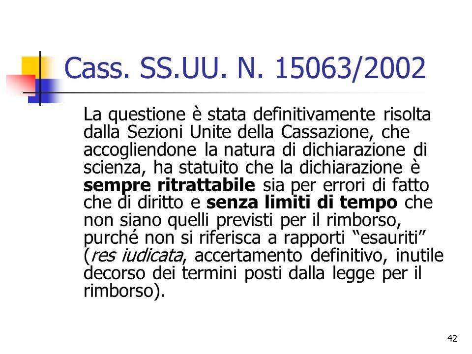 Cass. SS.UU. N. 15063/2002