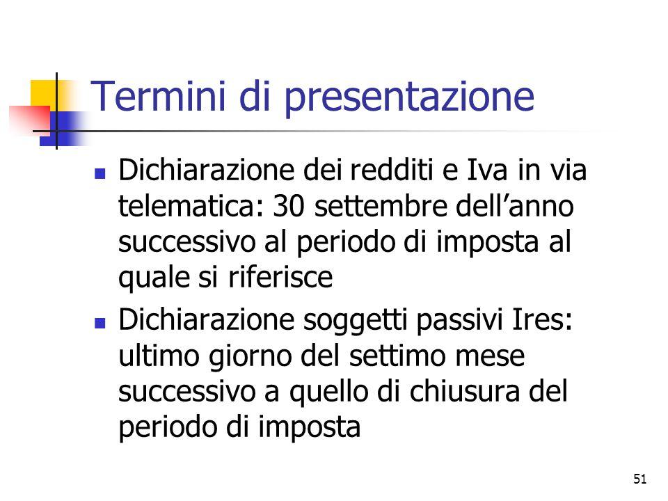 Termini di presentazione
