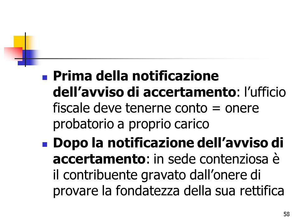 Prima della notificazione dell'avviso di accertamento: l'ufficio fiscale deve tenerne conto = onere probatorio a proprio carico