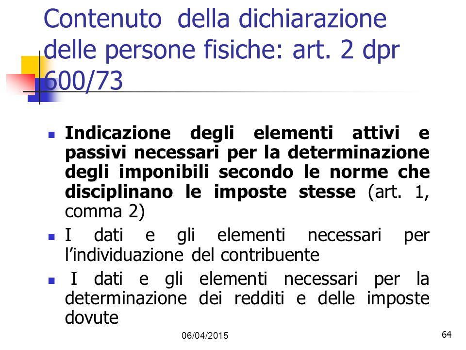 Contenuto della dichiarazione delle persone fisiche: art. 2 dpr 600/73