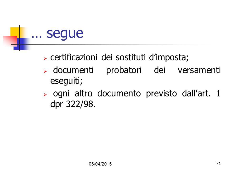 … segue certificazioni dei sostituti d'imposta;