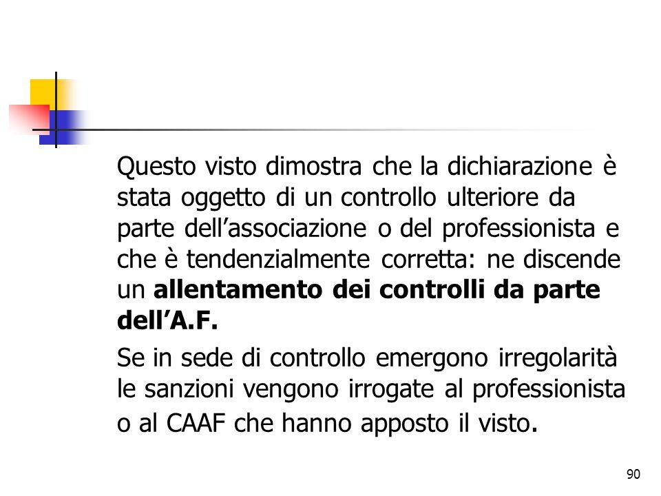 Questo visto dimostra che la dichiarazione è stata oggetto di un controllo ulteriore da parte dell'associazione o del professionista e che è tendenzialmente corretta: ne discende un allentamento dei controlli da parte dell'A.F.