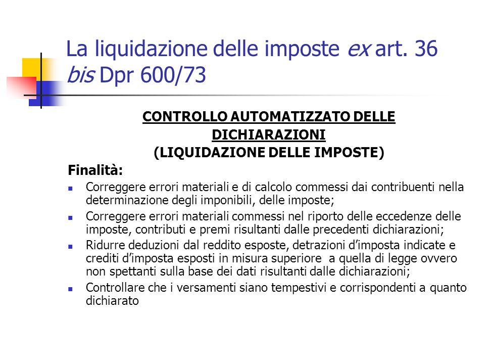 La liquidazione delle imposte ex art. 36 bis Dpr 600/73