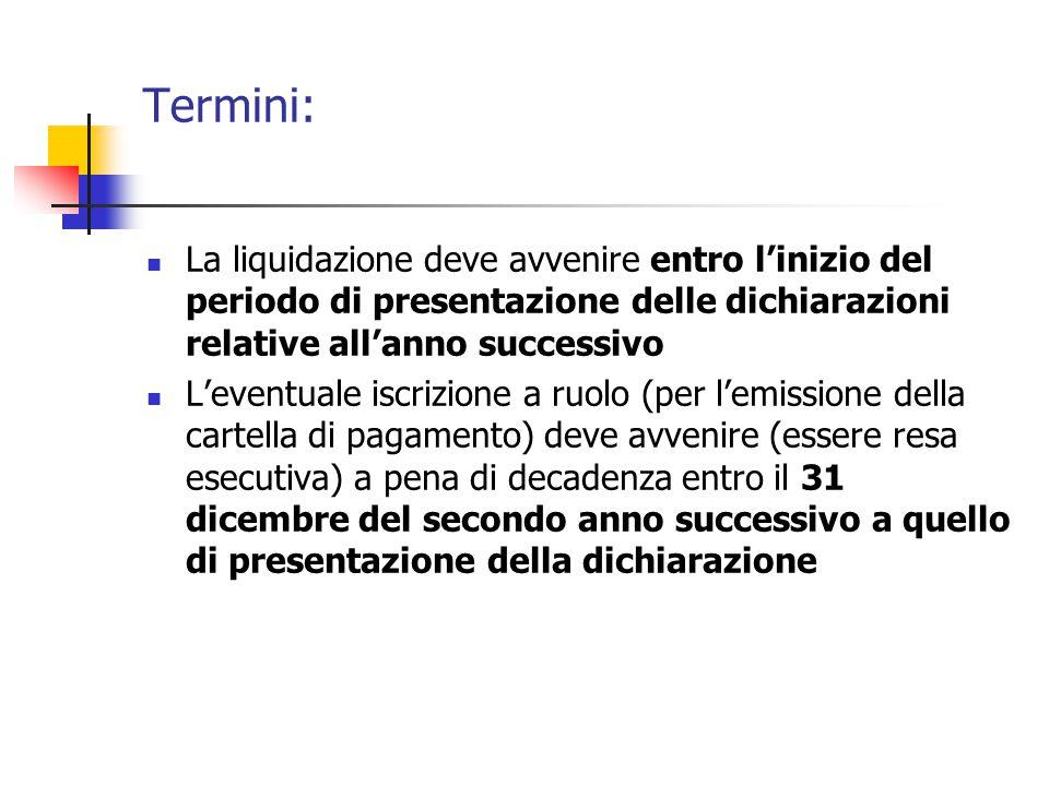 Termini: La liquidazione deve avvenire entro l'inizio del periodo di presentazione delle dichiarazioni relative all'anno successivo.