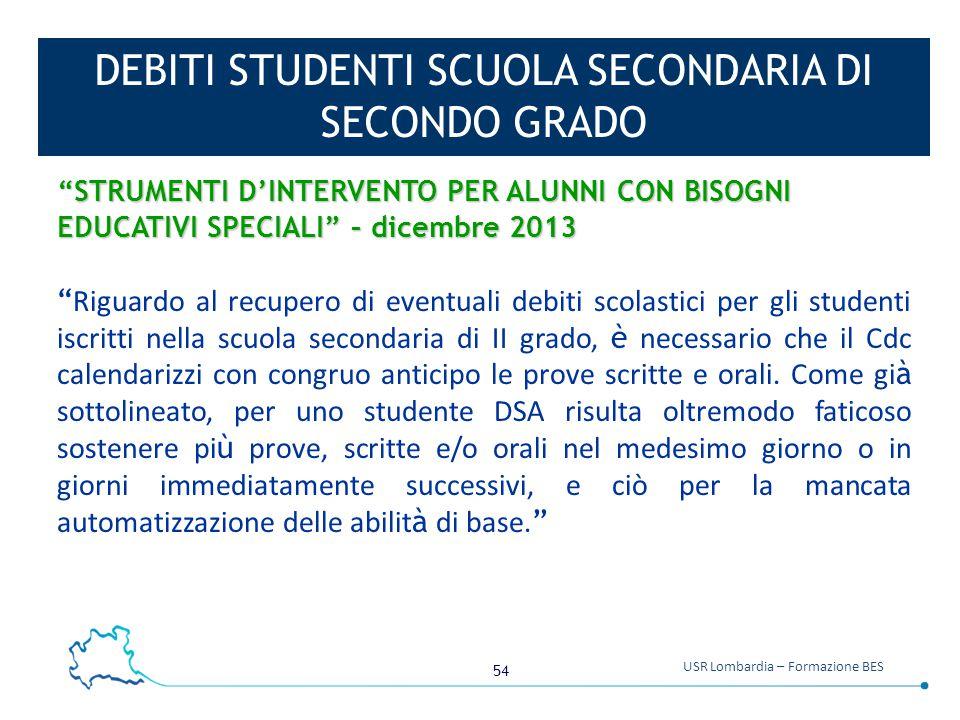 DEBITI STUDENTI SCUOLA SECONDARIA DI SECONDO GRADO
