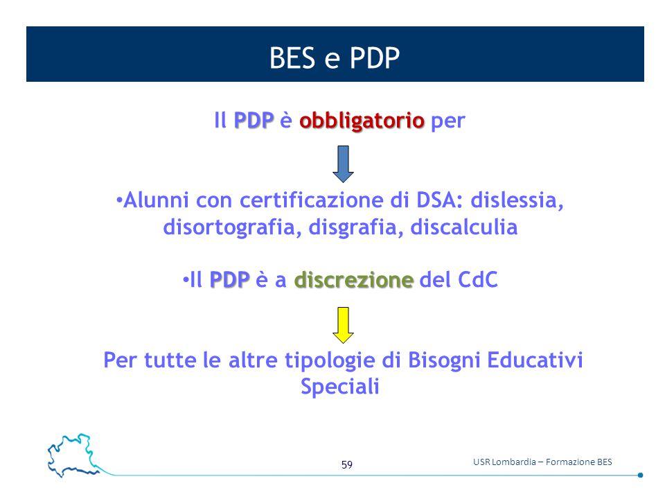 BES e PDP Il PDP è obbligatorio per