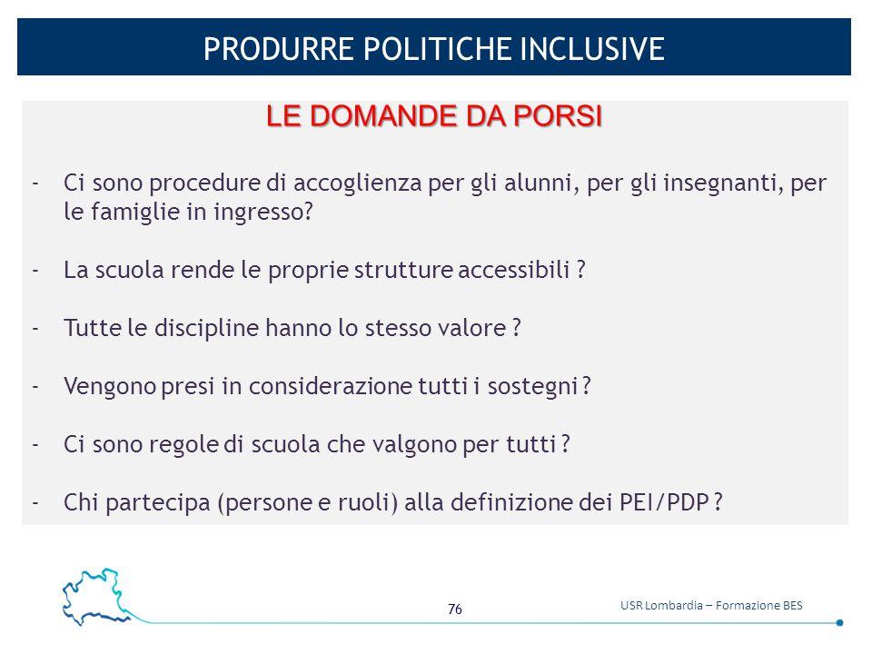 PRODURRE POLITICHE INCLUSIVE
