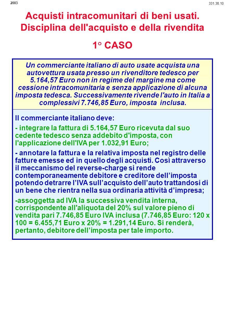 2003 331.38.10. Acquisti intracomunitari di beni usati. Disciplina dell acquisto e della rivendita.