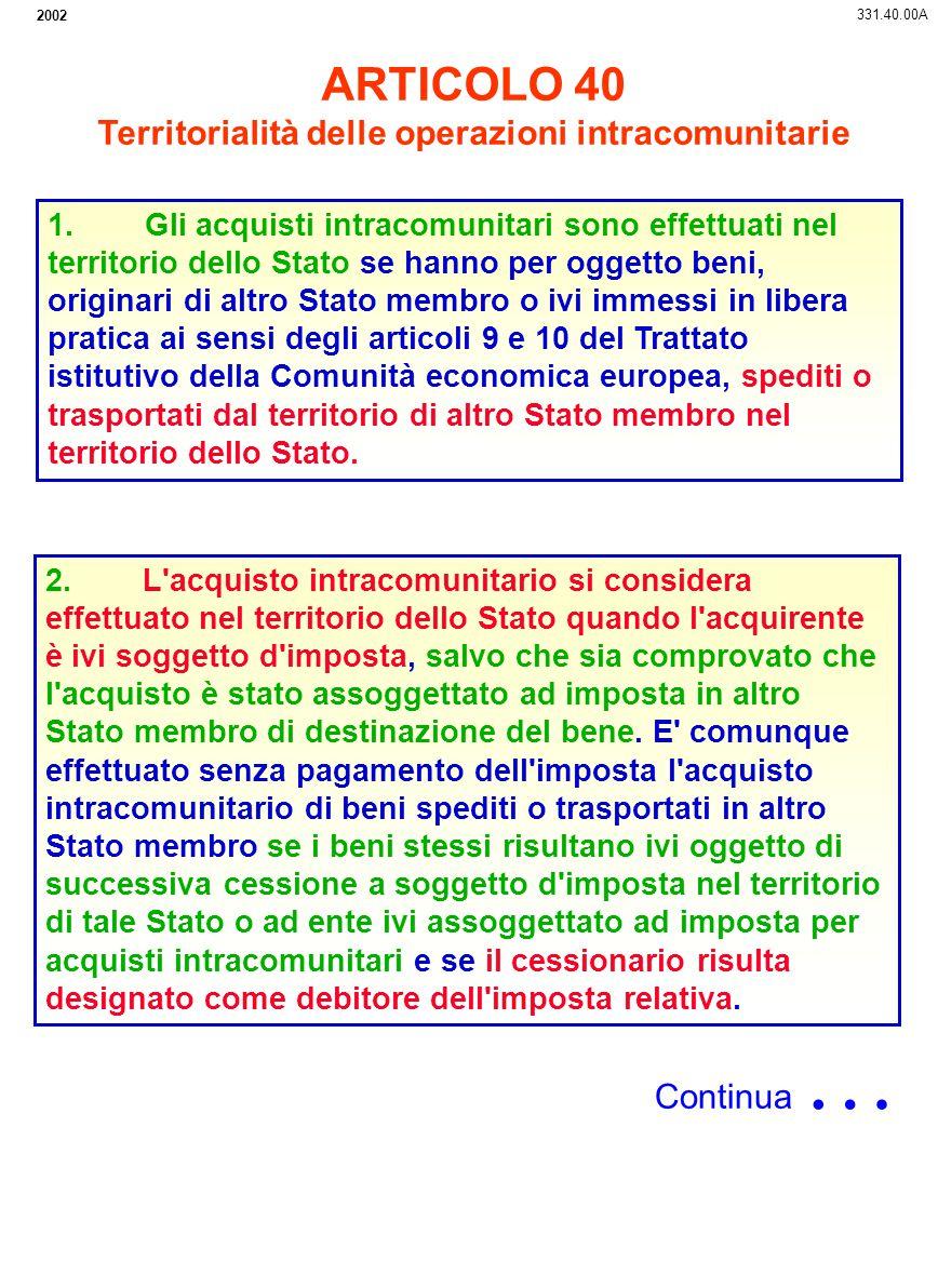 Territorialità delle operazioni intracomunitarie