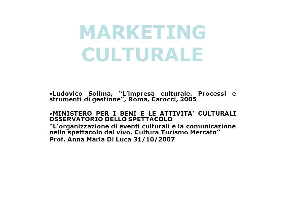 MARKETING CULTURALE Ludovico Solima, L'impresa culturale. Processi e strumenti di gestione , Roma, Carocci, 2005.