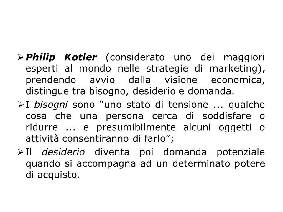 Philip Kotler (considerato uno dei maggiori esperti al mondo nelle strategie di marketing), prendendo avvio dalla visione economica, distingue tra bisogno, desiderio e domanda.