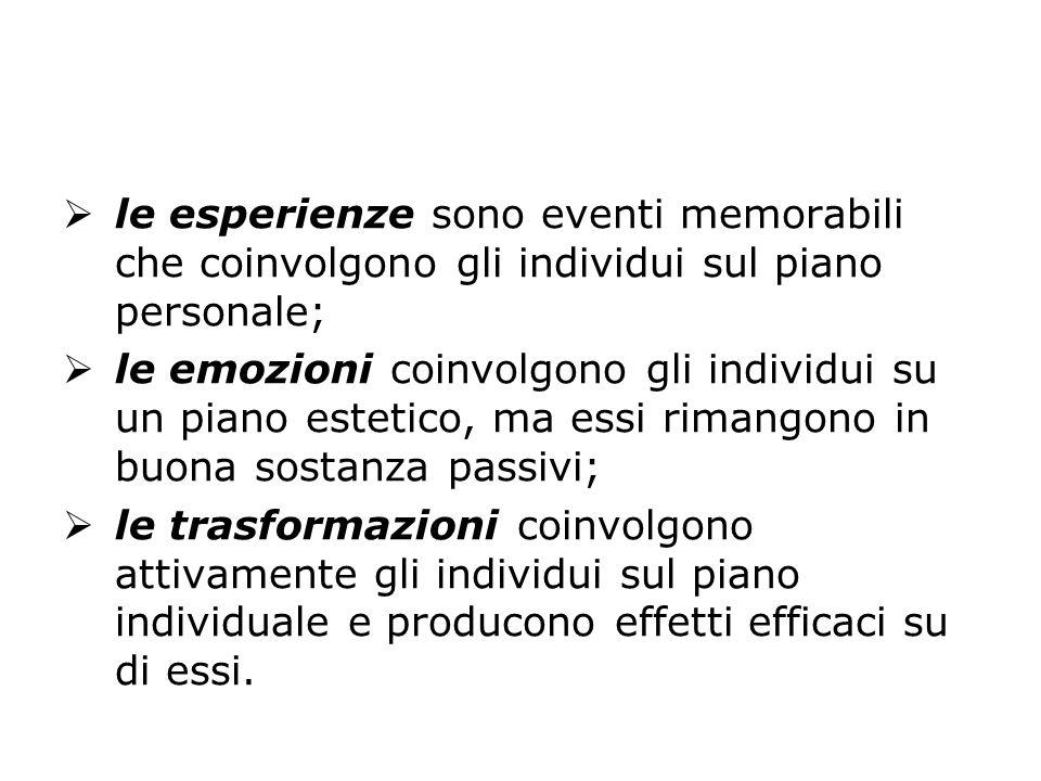 le esperienze sono eventi memorabili che coinvolgono gli individui sul piano personale;