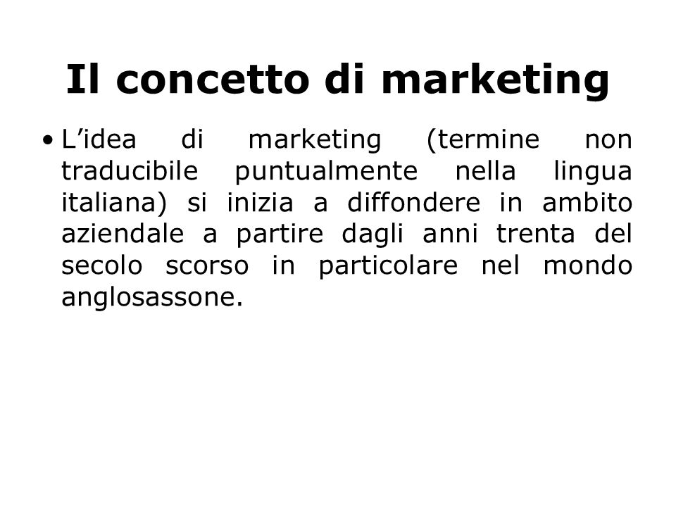 Il concetto di marketing