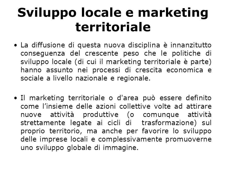 Sviluppo locale e marketing territoriale