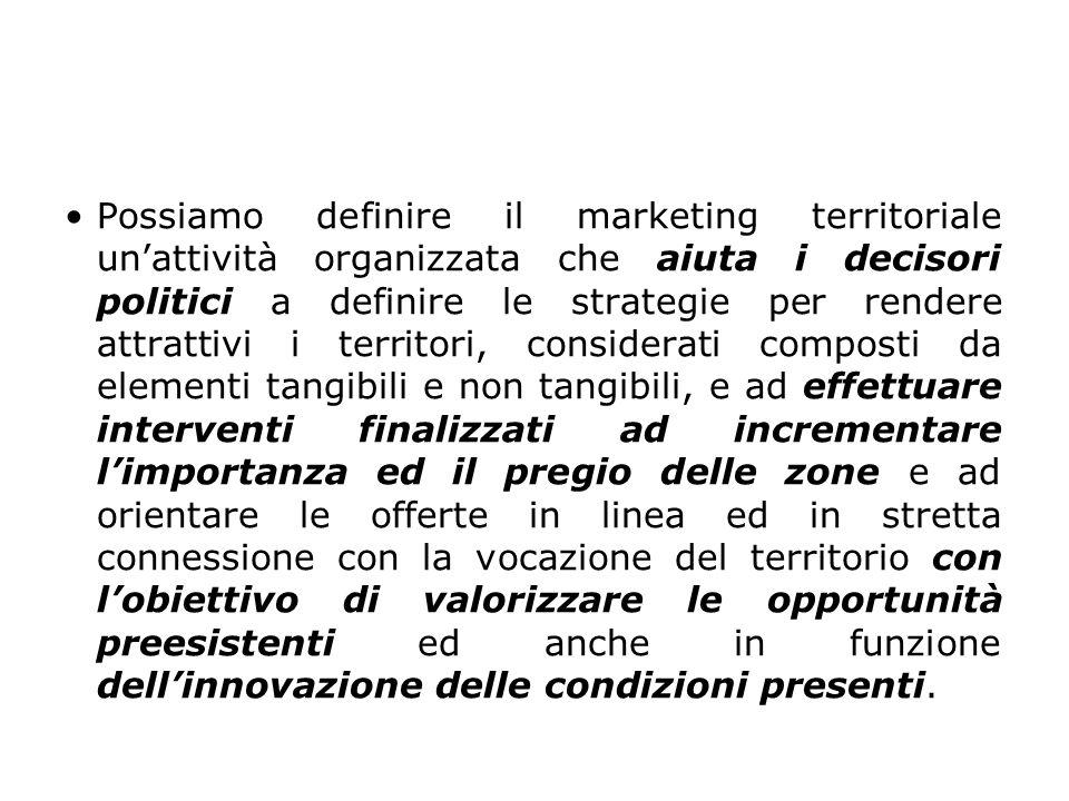 Possiamo definire il marketing territoriale un'attività organizzata che aiuta i decisori politici a definire le strategie per rendere attrattivi i territori, considerati composti da elementi tangibili e non tangibili, e ad effettuare interventi finalizzati ad incrementare l'importanza ed il pregio delle zone e ad orientare le offerte in linea ed in stretta connessione con la vocazione del territorio con l'obiettivo di valorizzare le opportunità preesistenti ed anche in funzione dell'innovazione delle condizioni presenti.